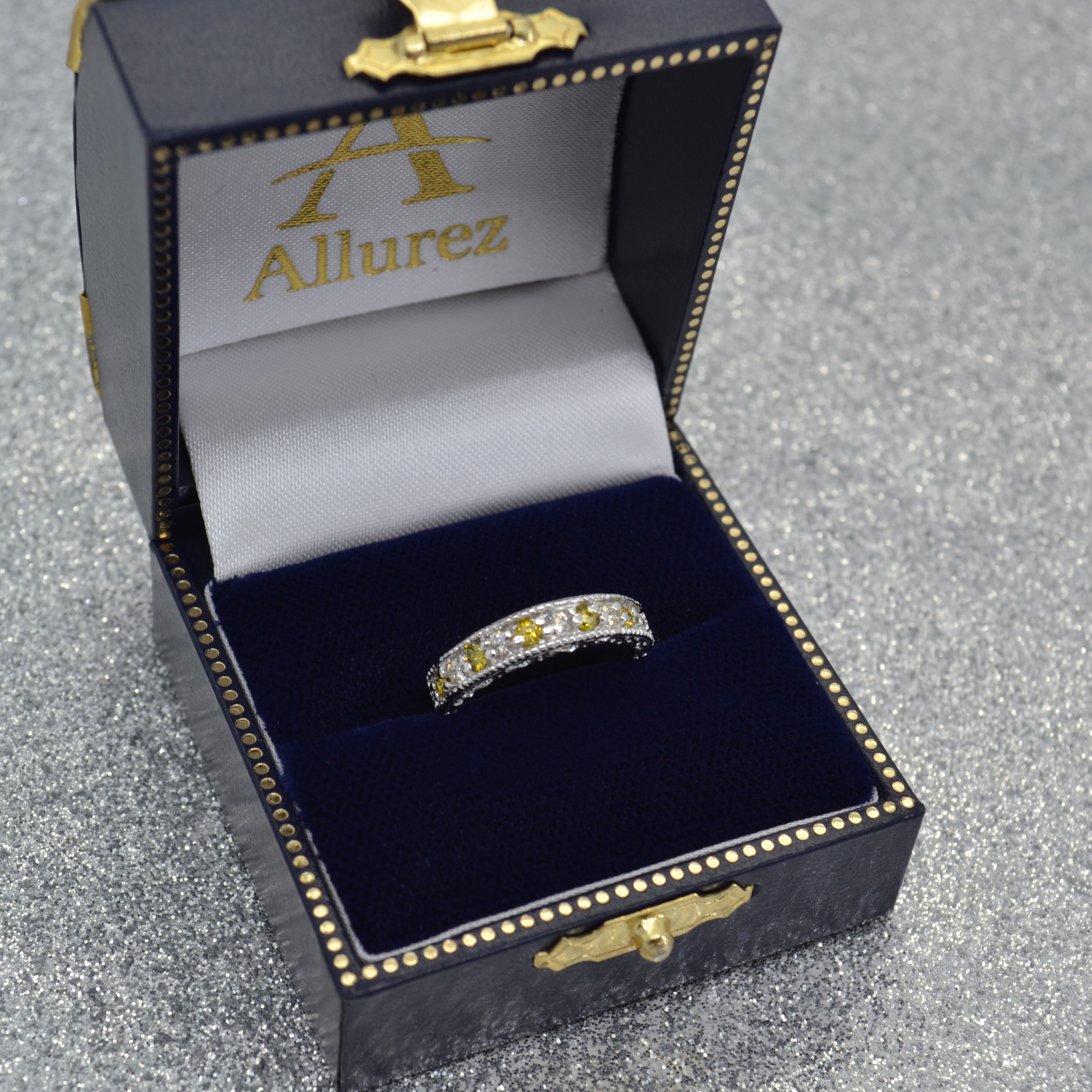 Fancy Yellow Canary & White Diamond Ring Band 14k White Gold (0.50ct)