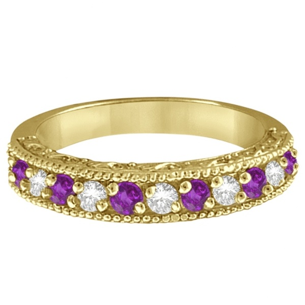 Diamond & Amethyst Band Filigree Design Ring 14k Yellow Gold (0.60ct)
