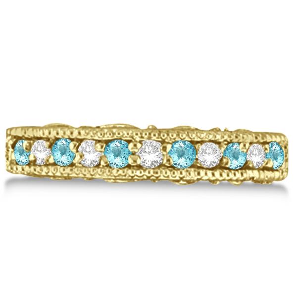 Aquamarine & Diamond Band Filigree Ring Design 14k Yellow Gold (0.60ct)
