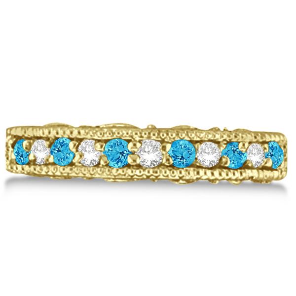 Blue Topaz & Diamond Band Filigree Ring Design 14k Yellow Gold (0.60ct)