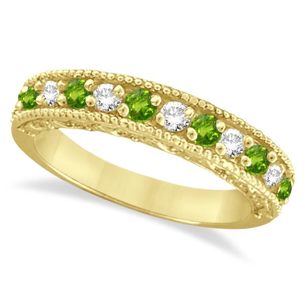 Diamond & Peridot Band Filigree Design Ring 14k Yellow Gold (0.60ct)
