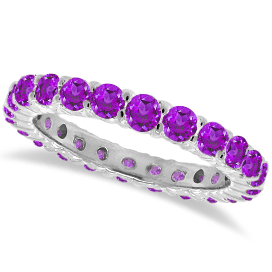 Purple Amethyst Eternity Ring Band 14k White Gold (1.07ct)