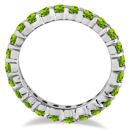 Peridot Eternity Ring Band 14k White Gold (1.07ct)