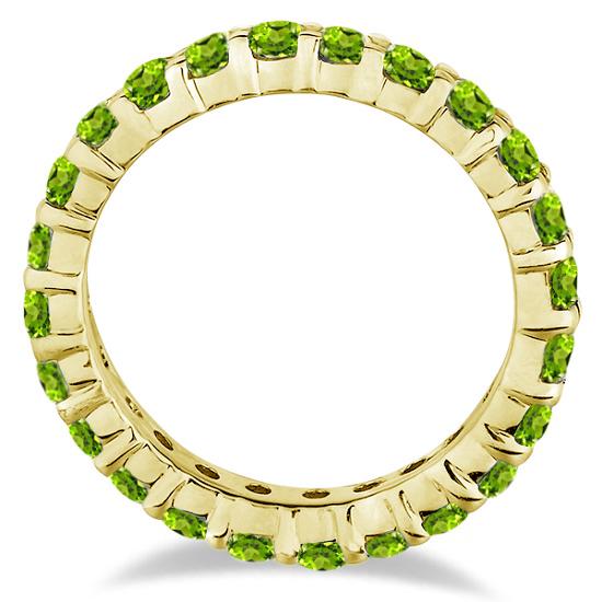 Peridot Eternity Ring Band 14k Yellow Gold (1.07ct)