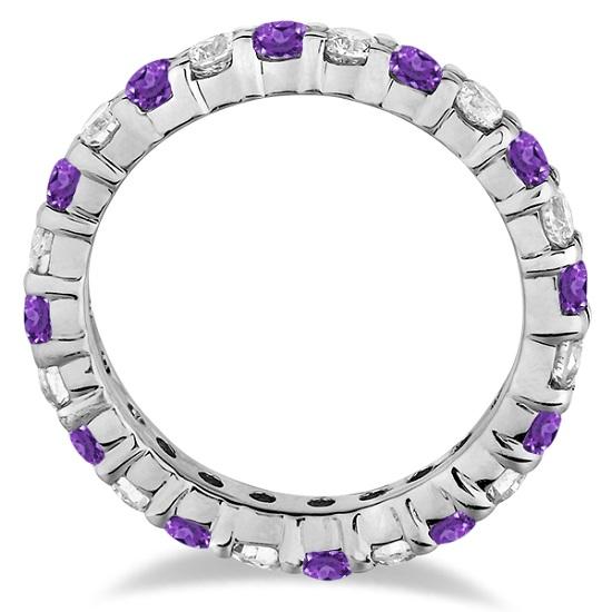 Purple Amethyst & Diamond Eternity Ring Band 14k White Gold (1.07ct)