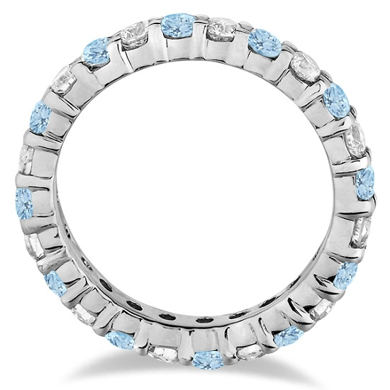 Aquamarine & Diamond Eternity Ring Band 14k White Gold (1.07ct)