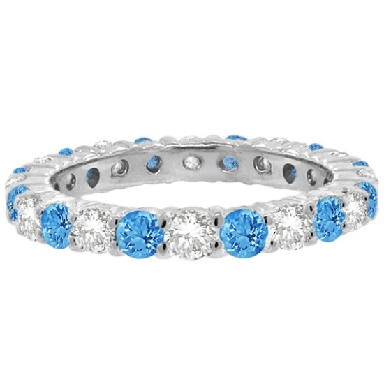 Blue Topaz & Diamond Eternity Ring Band 14k White Gold (1.07ct)