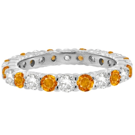 Citrine & Diamond Eternity Ring Band 14k White Gold (1.07ct)