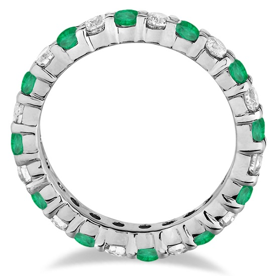Emerald & Diamond Eternity Ring Band 14k White Gold (1.07ct)