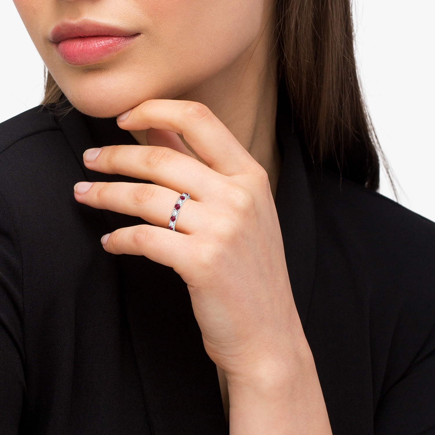 Red Garnet & Diamond Eternity Ring Band 14k White Gold (1.07ct)
