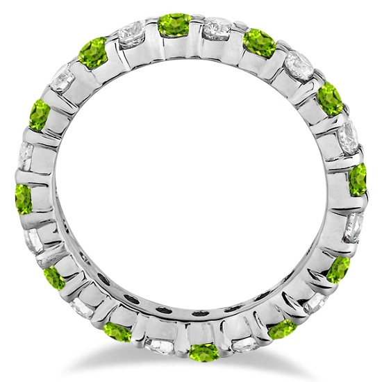 Peridot & Diamond Eternity Ring Band 14k White Gold (1.07ct)