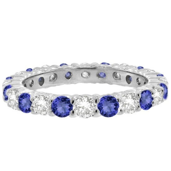 Tanzanite & Diamond Eternity Ring Band 14k White Gold (1.07ct)