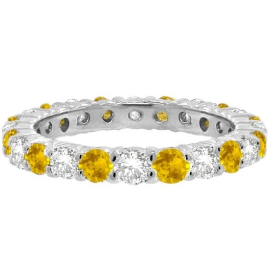 Yellow Sapphire & Diamond Eternity Ring Band 14k White Gold (1.07ct)