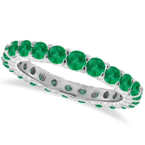 Emerald Eternity Ring Anniversary Band 14k White Gold (1.07ct)