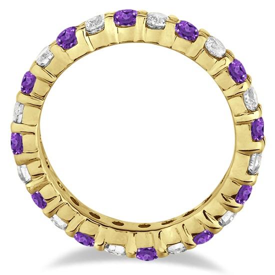 Purple Amethyst & Diamond Eternity Ring Band 14k Yellow Gold (1.07ct)