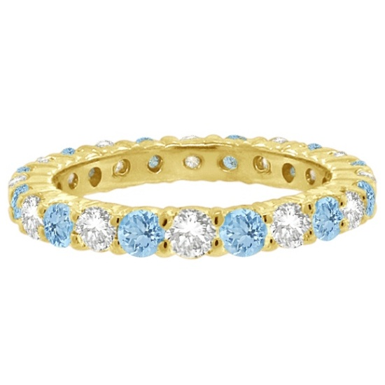 Aquamarine & Diamond Eternity Ring Band 14k Yellow Gold (1.07ct)