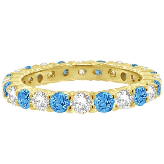Blue Topaz & Diamond Eternity Ring Band 14k Yellow Gold (1.07ct)