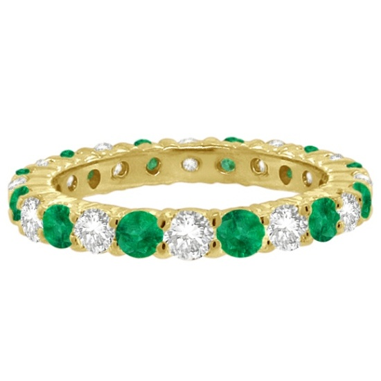 Emerald & Diamond Eternity Ring Band 14k Yellow Gold (1.07ct)