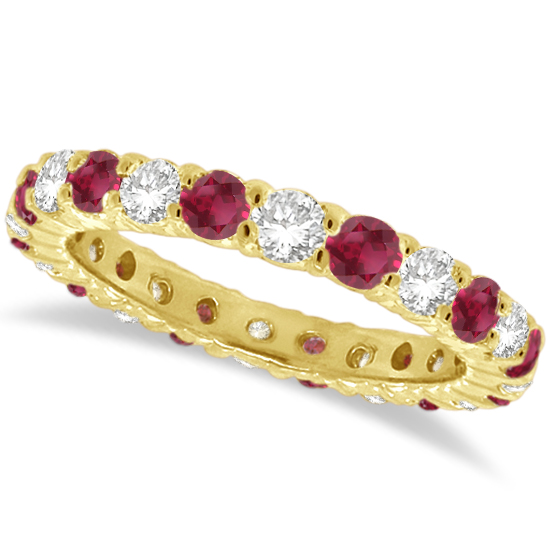 Red Garnet & Diamond Eternity Ring Band 14k Yellow Gold (1.07ct)