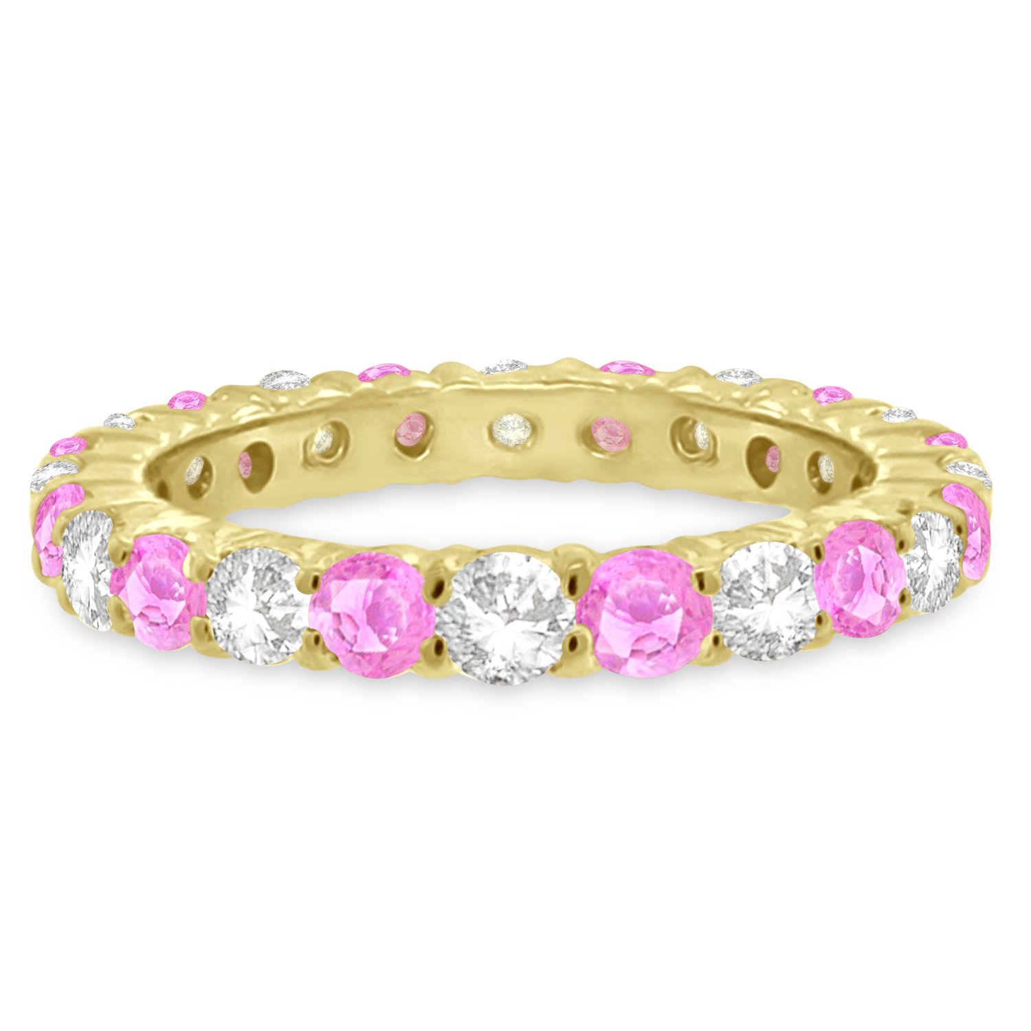 Pink Sapphire & Diamond Eternity Ring Band 14k Yellow Gold (1.07ct)