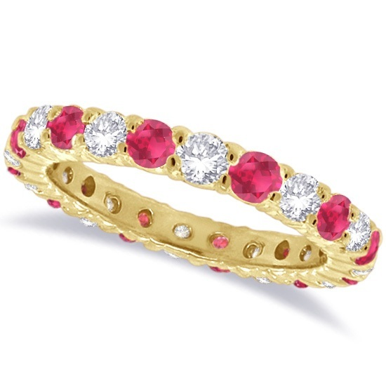 Ruby & Diamond Eternity Ring Band 14k Yellow Gold (1.07ct)