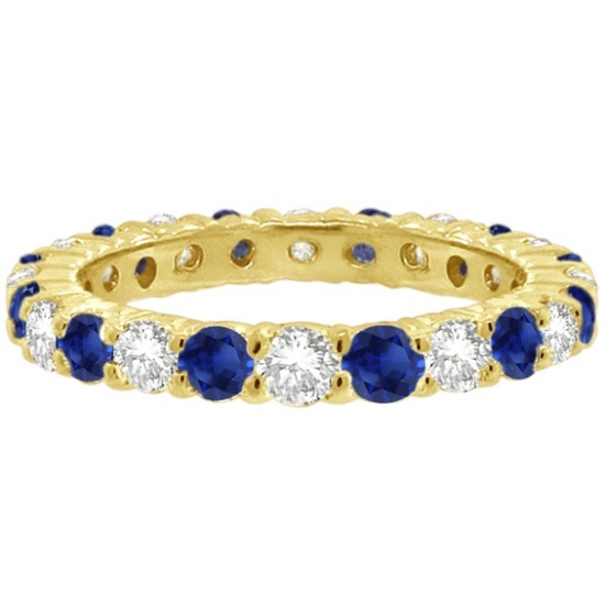 Blue Sapphire & Diamond Eternity Ring Band 14k Yellow Gold (1.07ct)