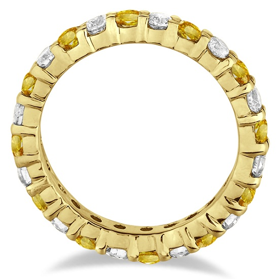 Yellow Sapphire & Diamond Eternity Ring Band 14k Yellow Gold (1.07ct)
