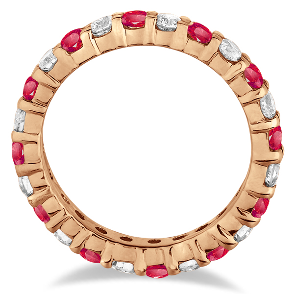 Eternity Diamond & Ruby Ring Band 14k Rose Gold (2.35ct)