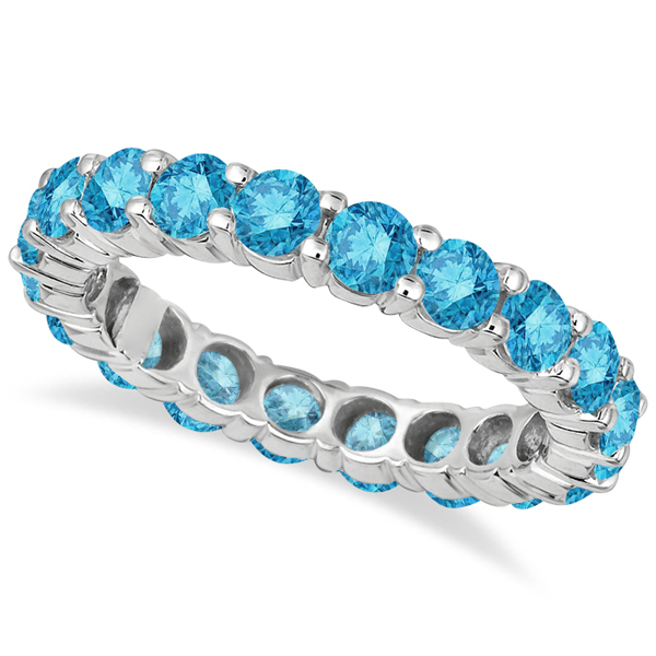 Fancy Blue Diamond Eternity Ring Band 18k White Gold (3.00ct)