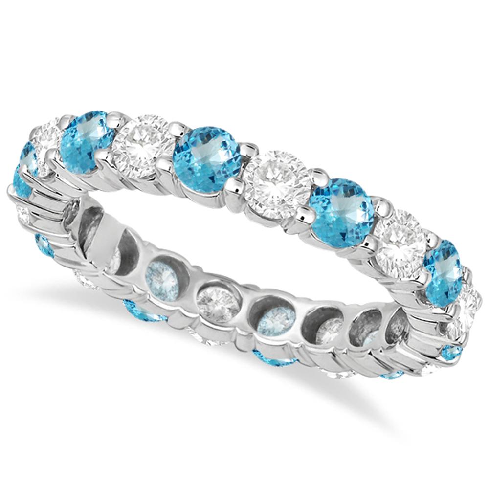 Eternity Diamond & Blue Topaz Anniversary Band 14k White Gold (3.50ct)