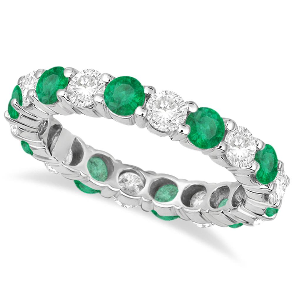 eternity emerald ring anniversary band 14k white