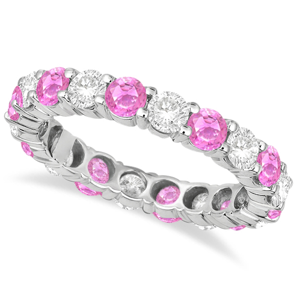 Eternity Diamond Amp Pink Sapphire Ring Band 14k White Gold