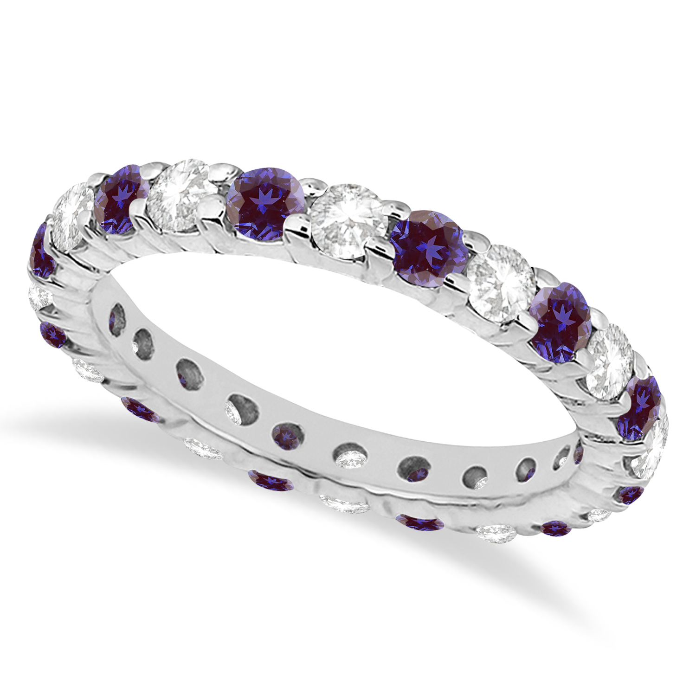 Eternity Diamond & Lab Alexandrite Ring Band 14k White Gold (2.40ct)