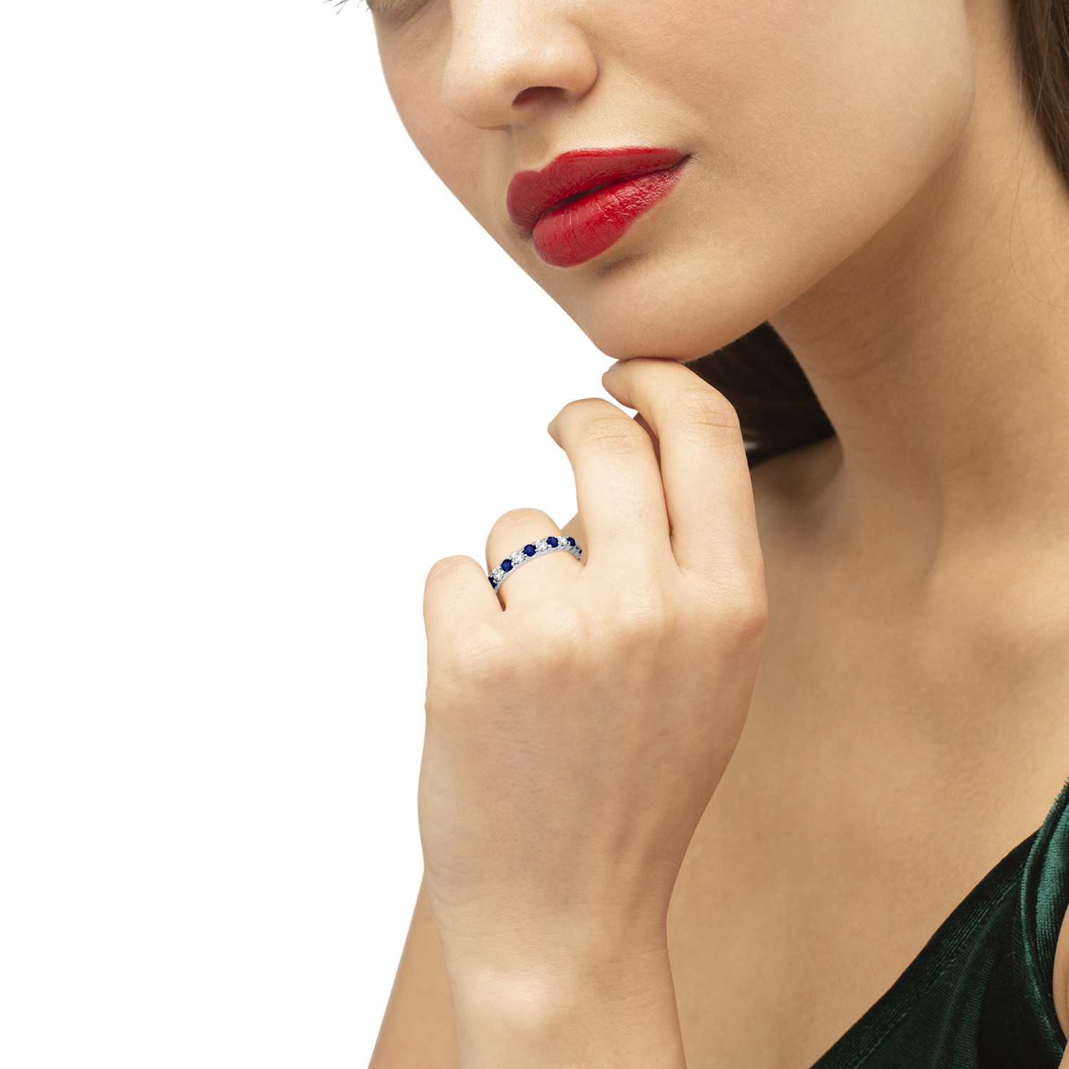 Eternity Diamond & Blue Sapphire Ring Band 14k White Gold (2.35ct)