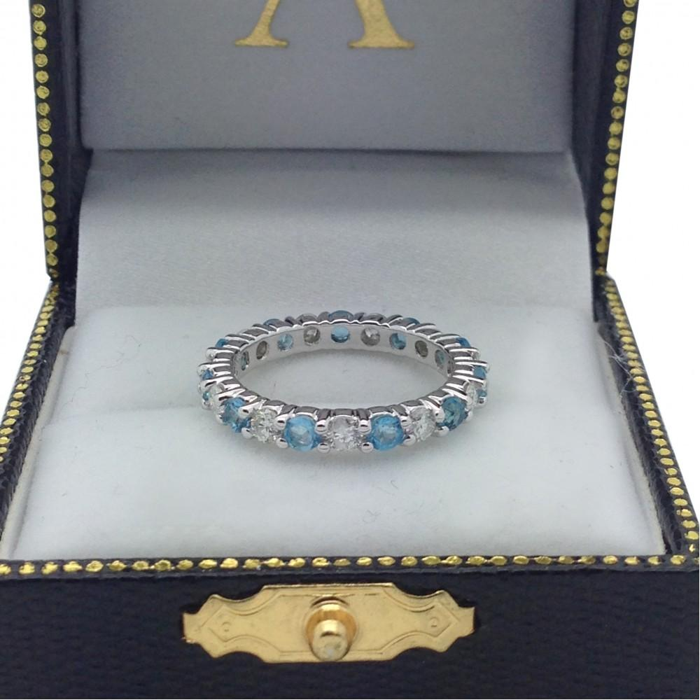 Eternity Diamond & Blue Topaz Ring Band 14k White Gold (2.40ct)