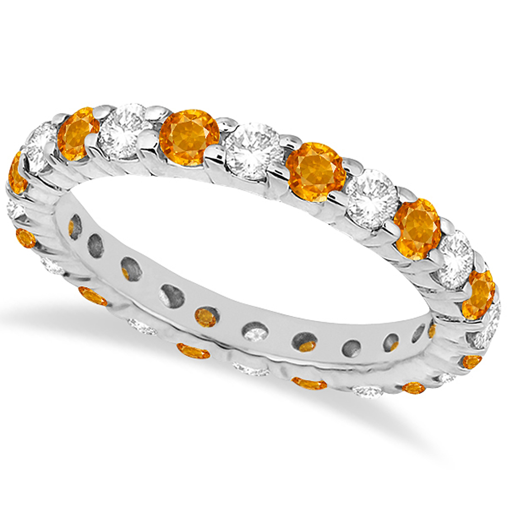 Eternity Diamond & Citrine Ring Band 14k White Gold (2.40ct)