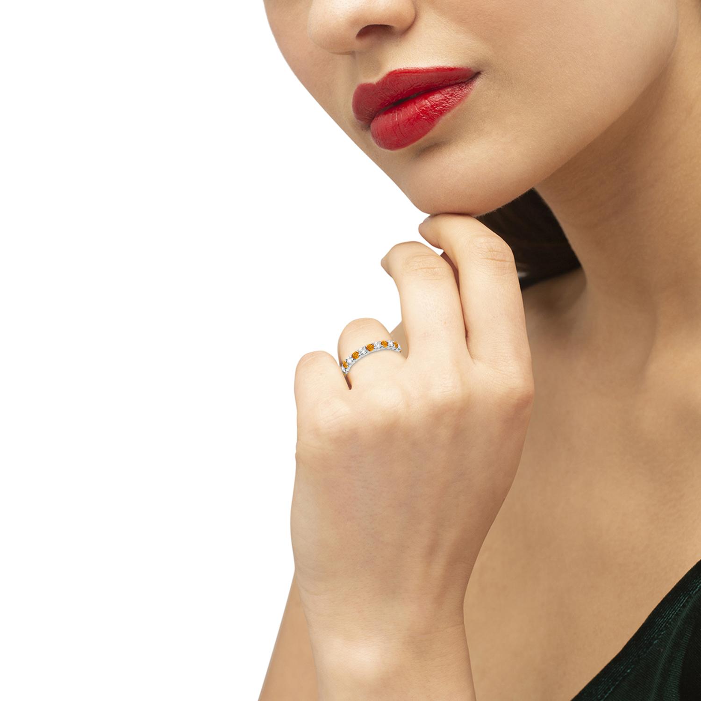 Eternity Diamond & Citrine Ring Band 14k White Gold (2.40ct)