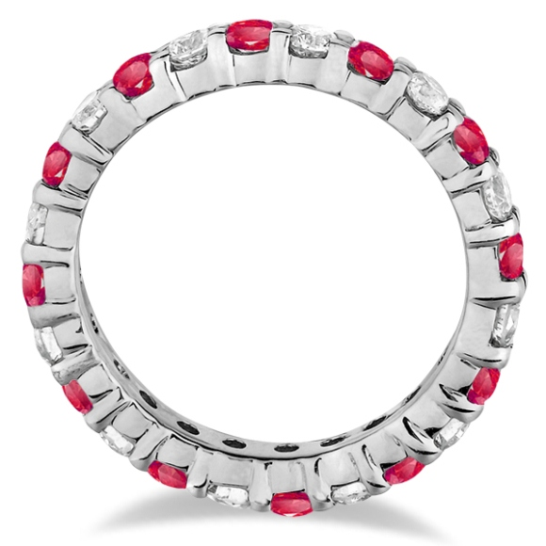Eternity Diamond & Garnet Ring Band 14k White Gold (2.35ct)