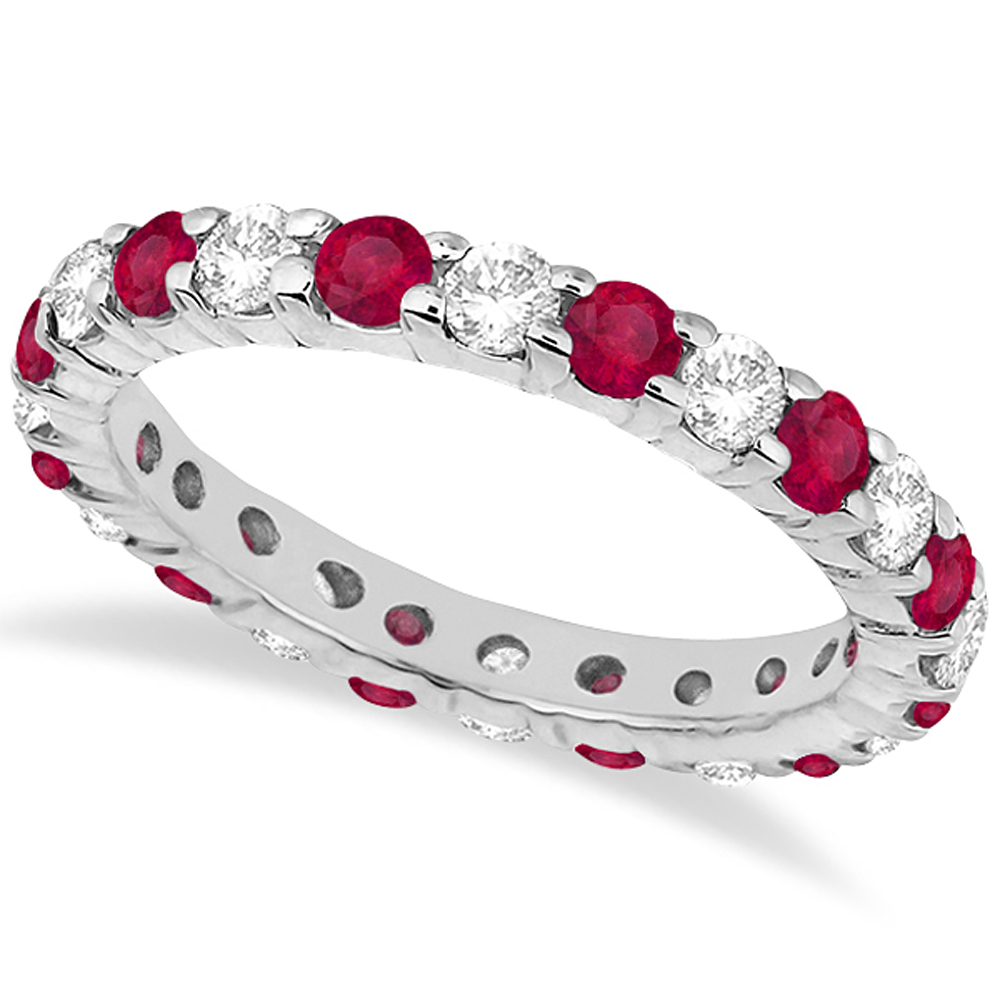 Eternity Diamond & Ruby Ring Band 14k White Gold (2.35ct)