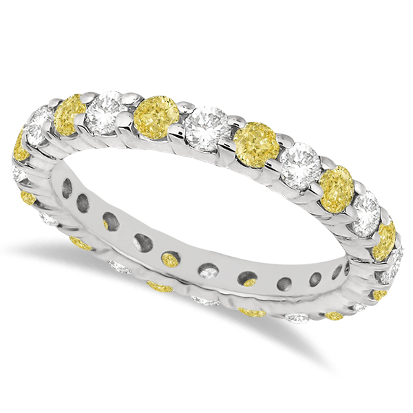Canary Yellow & White Diamond Eternity Ring 14k White Gold (2.00ct)