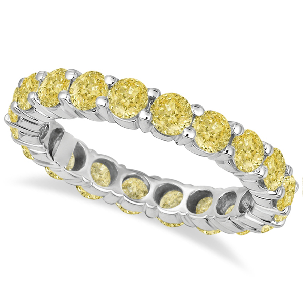 yellow diamond wedding ring canary yellow eternity ring band 18k white gold 1515
