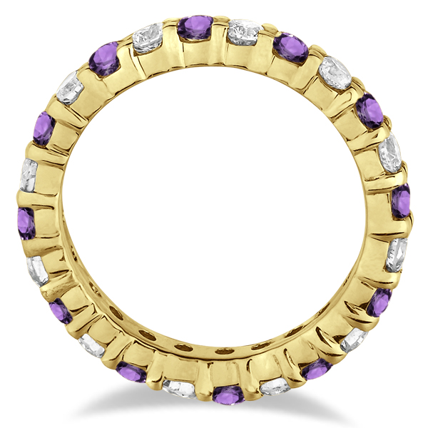Eternity Diamond & Amethyst Ring Band 14k Yellow Gold (2.40ct)