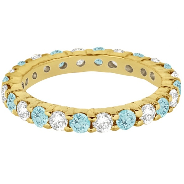 Eternity Diamond & Aquamarine Ring Band 14k Yellow Gold (2.40ct)