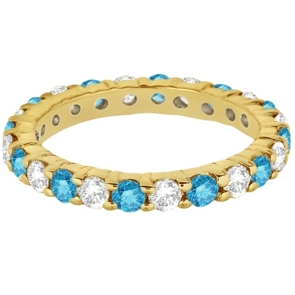 Fancy Blue & White Diamond Eternity Ring Band 14k Yellow Gold (2.00ct)