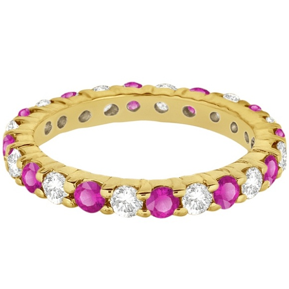 Eternity Diamond & Pink Sapphire Ring Band 14k Yellow Gold (2.35ct)