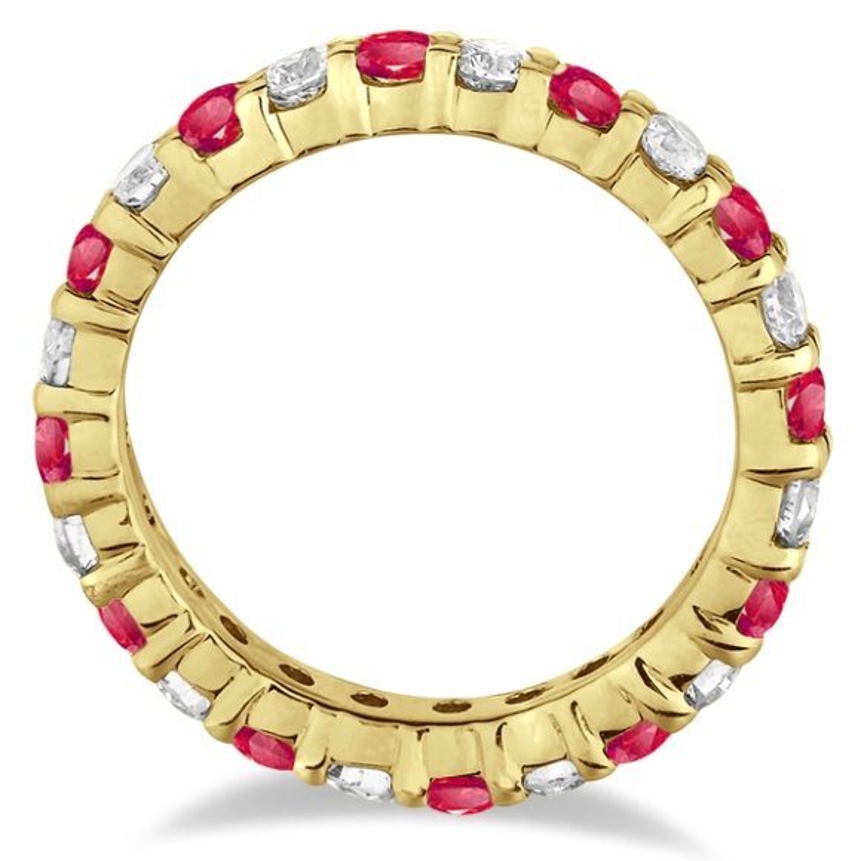 Eternity Diamond & Ruby Ring Band 14k Yellow Gold (2.35ct)
