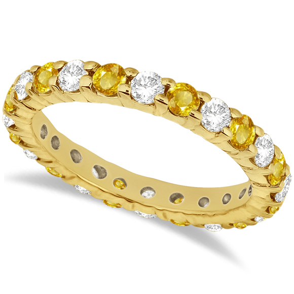 Eternity Diamond & Yellow Sapphire Ring Band 14k Yellow Gold (2.35ct)