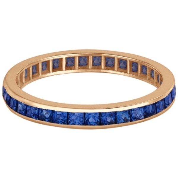 Princess-Cut Blue Sapphire Eternity Ring Band 14k Rose Gold (1.36ct) - Size 7.5