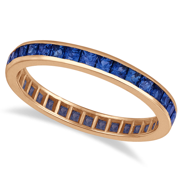 Princess-Cut Blue Sapphire Eternity Ring Band 14k Rose Gold (1.36ct)