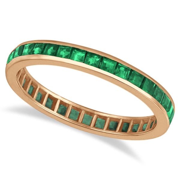 Princess-Cut Emerald Eternity Ring Band 14k Rose Gold (1.36ct)